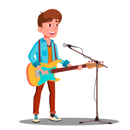 Young Handsome Guy Singing Into Microphone On Stage Vector. 写真素材