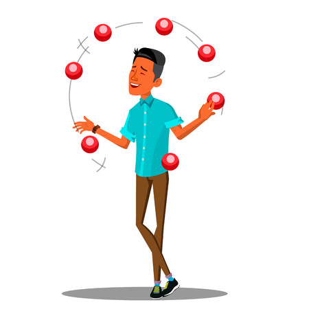 Young Man Juggling With Colored Balls Vector.