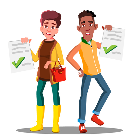 Happy Student Holding Paper With Excellent Test Exam Result Vector. Illustration