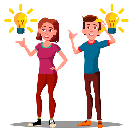 New Idea, Happy Teenager Guy, Girl With Bulb Over Head Vector. Illustration