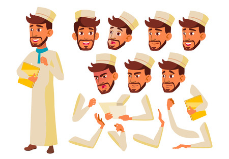 Teen Boy Vector. Teenager. Arab, Muslim. Activity, Beautiful. Face Emotions, Various Gestures. Animation Creation Set. Isolated Flat Cartoon Character Illustration