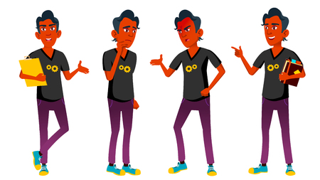 Teen Boy Poses Set Vector. Indian, Hindu. Asian. Friends, Life. For Presentation, Invitation, Card Design. Isolated Cartoon Illustration Stock Photo