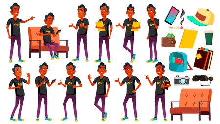 Teen Boy Poses Set Vector. Indian, Hindu. Asian. Friendly, Cheer. For Banner, Flyer, Brochure Design. Isolated Cartoon Illustration