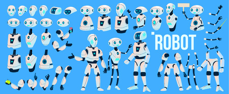 Robot Vector. Animation Set. Mechanism Robot Helper. Cyborgs, AI Futuristic Humanoid Character. Animated Artificial Intelligence. Web Design. Robotic Technology Isolated Illustration Illustration