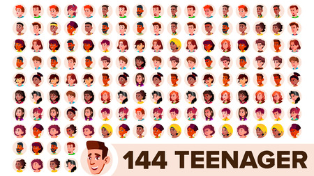 Teenager Avatar Set Vector. Girl, Guy. Multi Racial. Face Emotions. Multinational User People Portrait. Male, Female. Ethnic. Modern Default Placeholder Icon. Flat Illustration Illustration