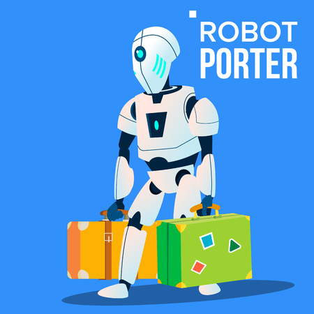 Robot Porter Carries A Lot Of Luggage Vector. Isolated Illustration