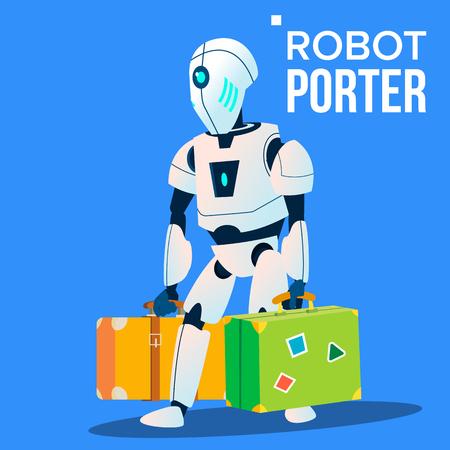 Roboter-Porter trägt viel Gepäck Vektor. Isolierte Abbildung Vektorgrafik