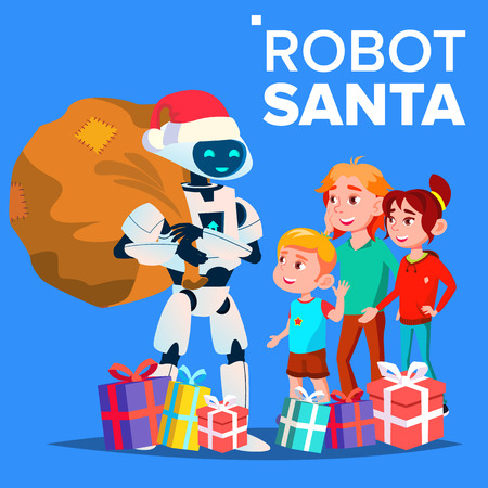 Robot In Santa Claus Hat And Gifts With Children Vector. Isolated Illustration