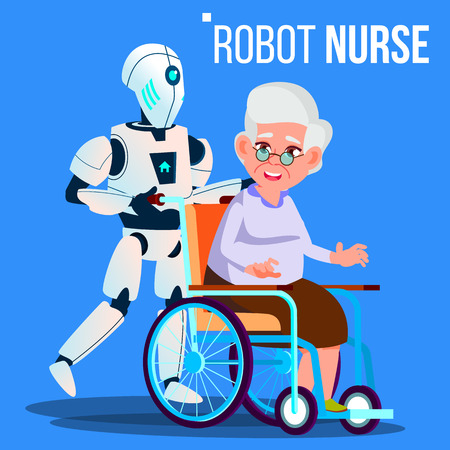 Robot Nurse Rolling Wheelchair With Elderly Woman Vector. Isolated Illustration Stock Photo