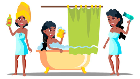 Teenager Girl Washing Long Hair With Shampoo Vector. Isolated Illustration Illustration
