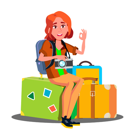 Happy Girl Sitting On Pile Of Suitcases Ready To Travel Vector. Illustration