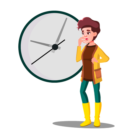 Late, Girl Fright Looking At The Clock Vector. Illustration