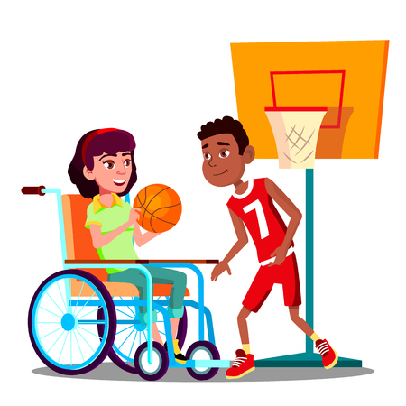 Happy Disabled Girl On Wheelchair Playing Basketball With Friend Vector. Illustration