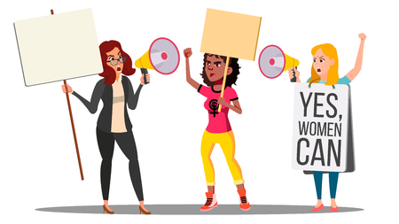 Feminist Girls At Protest Action For Women s Rights Vector. Isolated Illustration
