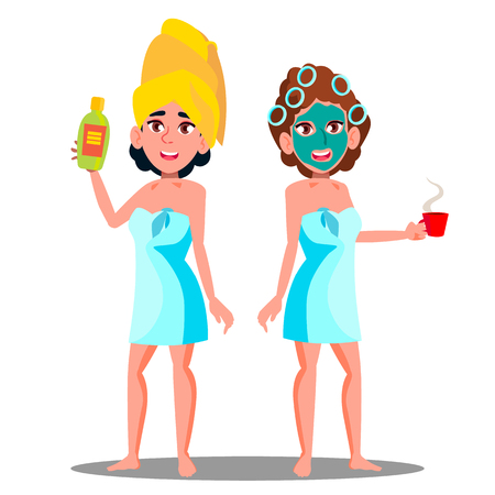 Teen Girl With Cosmetic Mask On Face And Spa Cream Tube In Hand Vector. Illustration 矢量图片