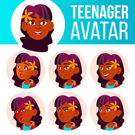 Teen Girl Avatar Set Vector. Indian, Hindu. Asian. Face Emotions. Emotional. Casual, Friend. Cartoon Head Illustration