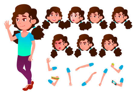 Girl, Child, Kid, Teen Vector. Schoolchild. Lecture. Face Emotions, Various Gestures Animation Creation Set Isolated Flat Illustration