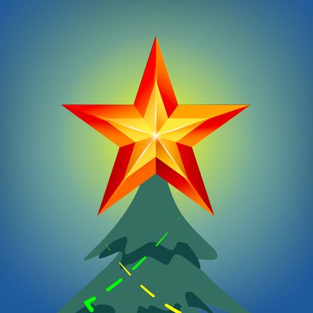 Shining Christmas Star In Blue Night Sky Vector. Isolated Illustration