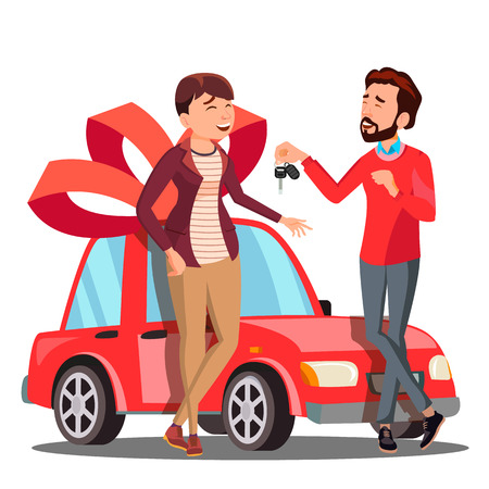 Man Giving Woman Keys Of Red Car Vector. Present, Gift. Isolated Illustration