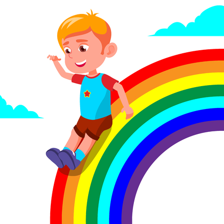 Happy Child Boy Rolling Down The Rainbow Vector. Isolated Illustration