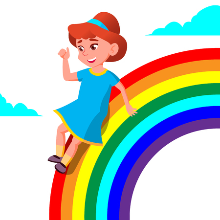 Happy Child Girl Rolling Down The Rainbow Vector. Isolated Illustration Illustration