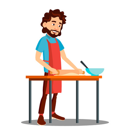 Man Cooking In The Kitchen In Apron Vector. Illustration
