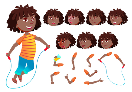 Girl, Child, Kid, Teen Vector. Black. Afro American. Teenager, Education. Face Emotions Various Gestures Animation Creation Set Isolated Flat Cartoon Illustration