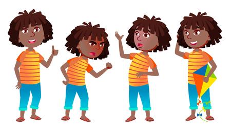 Fille écolière Kid Poses Set Vector. Le noir. Afro américain. Lycéen. Enfant Élève. Actif, Joie, Loisirs. Pour la publicité, les salutations, la conception d'annonces Illustration de dessin animé isolé