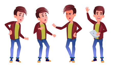 Boy Schoolboy Kid Poses Set Vector. High School Child. Classmate. Teenager, Classroom, Room. For Advertising, Booklet, Placard Design. Isolated Cartoon Illustration