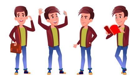 Boy Schoolboy Kid Poses Set Vector. High School Child. Teenage. Book, Workspace, Board. For Web, Brochure, Poster Design. Isolated Cartoon Illustration
