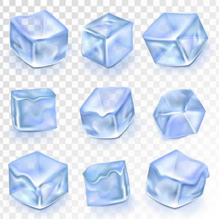 Ice Cubes Isolated Transpatrent Vector. Frost Freeze Design Effect. Clean Cold Crystal. Realistic Blue Ice Water Blocks Set Illustration