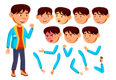 Asian Boy, Child, Kid, Teen Vector. Teenager, Education. Face Emotions, Various Gestures. Animation Creation Set Isolated Flat Cartoon Illustration
