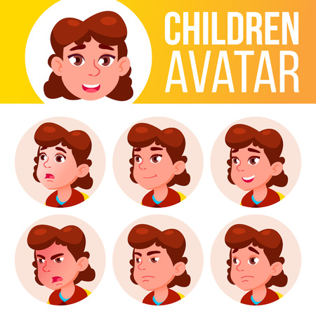 Girl Avatar Set Kid Vector. Primary School. Face Emotions. Primary, Child Pupil. Life, Emotional Cartoon Illustration