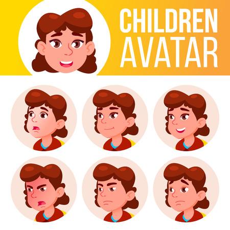 Ragazza Avatar Set Kid vettore. Scuola elementare. Emozioni del viso. Primaria, Allievo Bambino. Vita, fumetto emotivo illustrazione