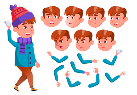 Boy, Child, Kid, Teen Vector. Active Cute. Cheer, Pretty. Face Emotions, Various Gestures. Animation Creation Set. Isolated Flat Cartoon Character Illustration Stock Photo