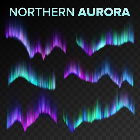 Northern Aurora Set Vector. Polar Sky Night Shiny Magical Phenomenon. Black Transparent Background. Abstract Aurora Borealis North Mystery Atmosphere Lights. Realistic Illustration