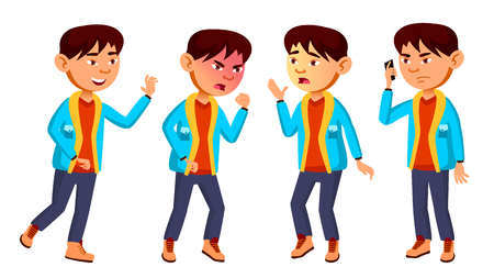 Asian Boy Schoolboy Kid Poses Set Vector. Primary School Child. Friendship. For Web, Brochure, Poster Design. Isolated Illustration