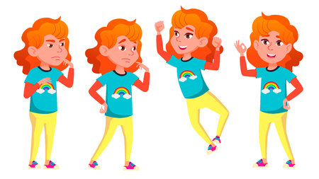 Girl Poses Set Vector. High School Child. For Advertising, Booklet, Placard Design. Isolated Illustration