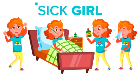 Sick Girl Schoolgirl Vector. Ill Child. Teenage. For Web, Brochure, Poster Design Isolated Illustration