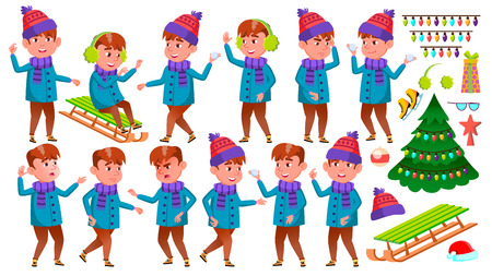 Boy Kid Poses Set Vector. Winter Holidays. Activity. Positive Child. For Postcard, Announcement, Cover Design. Isolated Illustration