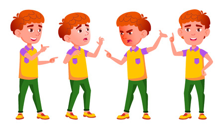 Little Boy Poses Set Vector. Primary School Child. Red Head. Emotions. For Postcard, Cover, Placard Design. Isolated Illustration Illustration