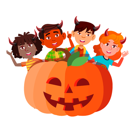 Group Of Children With Devil Horns Peeking Out From Large Pumpkin Vector. Halloween Illustration