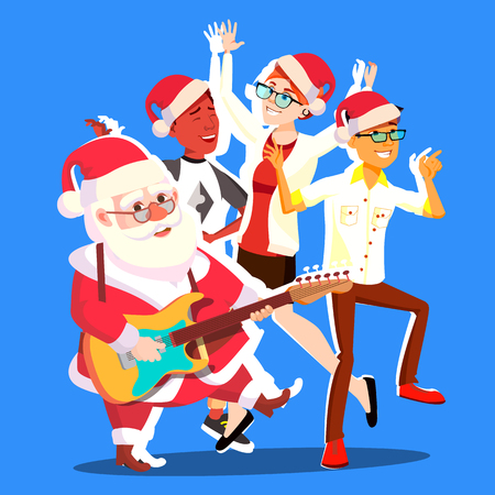 Santa Claus Dancing With Group Of People And Guitar In Hands. Happy People Having Fun Dancing. Christmas Party Vector Illustration