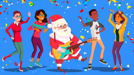 Santa Claus Dancing With Group Of People And Guitar In Hands. Corporate New Year. Christmas Party Vector Illustration