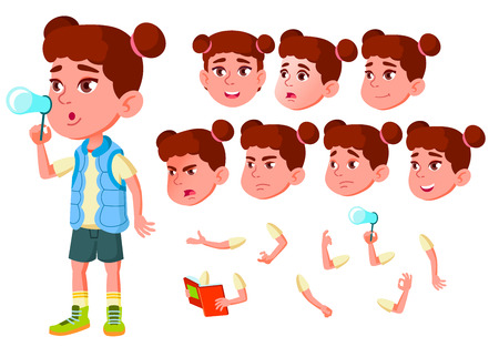 Girl, Child, Kid, Teen Vector. Little. Funny. Junior. Friendly Face Emotions Various Gestures Animation Creation Set Isolated Flat Cartoon Illustration