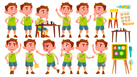 Boy Kindergarten Kid Poses Set Vector. Preschool. Young Person. Cheerful. For Web, Brochure, Poster Design. Isolated Illustration