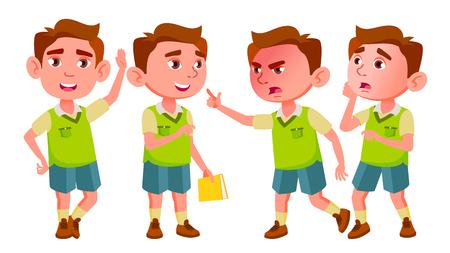 Boy Kindergarten Kid Poses Set Vector. Baby Expression. Preschooler. Life. For Postcard, Announcement, Cover Design. Isolated Illustration