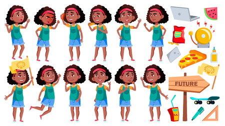 Girl Schoolgirl Poses Set Vector. Black. Afro American Pupil. For Banner, Presentation Design. Isolated Illustration