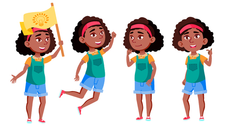 Afro American Girl Set Vector. Black. Education. Casual Clothes, Friend. For Advertisement, Greeting, Announcement Design Isolated Illustration