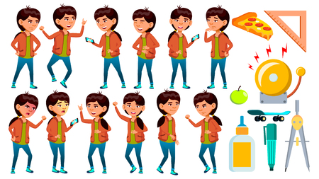 Asian School Girl Poses Set Vector. Schoolchild. Funny, Friendship, Happiness Enjoyment. For Web, Poster, Booklet Design Isolated Illustration